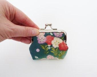 Coin purse, multi colour floral vintage cotton kimono fabric