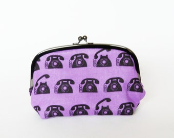 Cosmetic bag, purple and black telephone fabric, cotton pouch