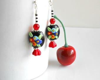 Fried Egg Poppy Flower Earrings - Floral Earrings - Lampwork Glass Earrings - Beaded Earrings - Cherry Chick - Flower Earrings