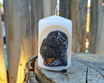 Color Sugar Skull Day of the Dead Darth Vader  2x3 Pillar Candle