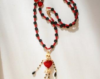 Dancing skeleton necklace