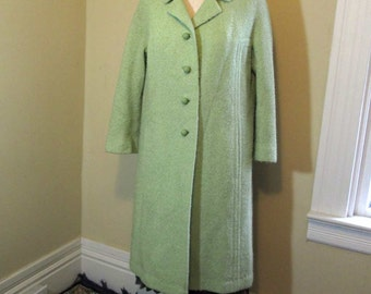 Vintage Mint Green Coat poodle wool 60s Coat Green Mohair boucle wool vintage wool coat Round Ball Buttons Union tag S M