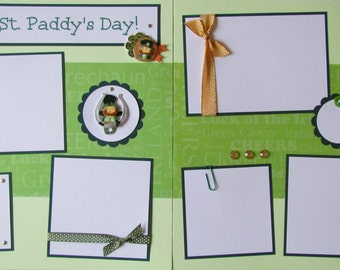 12x12 Premade Scrapbook Pages -- HAPPY St. PADDY'S DAY -- St. Patrick's Day leprechauns