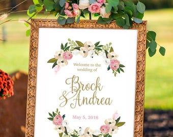 wedding signs welcome, printable wedding template, greenery, pastel wedding, garden wedding, reception decor ideas, peony print, boho bride