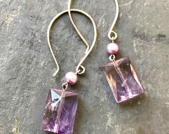 Faceted Ametrine Dangle Earrings, Lavender Gemstone Earrings, Pastel Gemstone earrings, Purple Sterling Silver Earrings