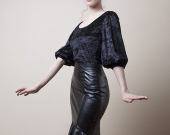 Crushed Velvet Top/Tunic with Bishop Sleeves-Made to Measure