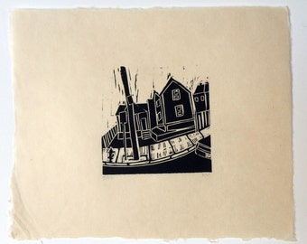 Cambridge Cans- woodcut block print- Ruchika Madan