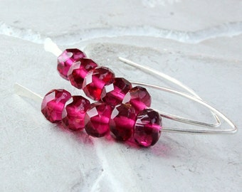 Red Glass Earrings Sterling Silver   Glass Jewelry  Gift For Her Women Accessories Made For Wife