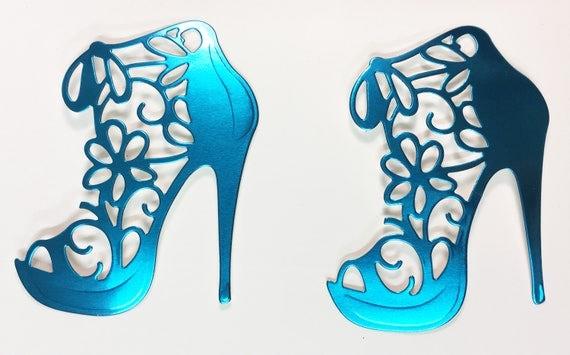 High Heel Shoe Foil Die Cut Flower Lace Turquoise Blue Teal Elegant Feminine Embellishment Scrapbook Greeting Card Art Craft Mixed Media