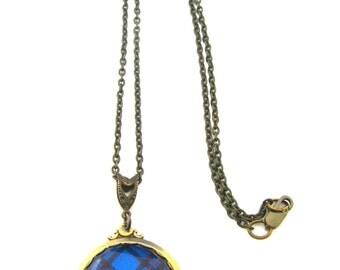 Scottish Tartan Jewelry - Ancient Romance Series - Elliott Elliot Clan Tartan Ornate Fob Necklace w/Vintaj Connector Bail