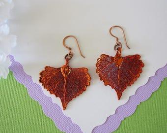 Cottonwood Copper Leaf Earrings, Cottonwood Leaf, Real Leaf Earrings, Nature, Cottonwood Earrings, Copper Earrings, Heart Shape, LESM193