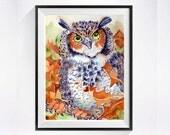 Great Horned Owl Art Watercolor Archival Print Bird painting Wildlife art Animal art Archival print