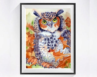 Great Horned Owl Art Watercolor Archival Print Bird painting Wildlife art Animal art Archival print