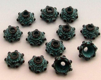 Bali Style Green Patina Bead Cap, 8 MM, Mykonos, Greek Casting, 12 Pieces M366