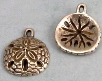 Sand Dollar Pendant, Charm, Greek Casting, Pewter, 20 MM,  2 Pieces, M323
