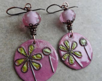 Freshed Picked ... Enameled Copper, Artisan-Made Lampwork and Copper Wire-Wrapped Rustic, Boho, Woodland, Floral Earrings