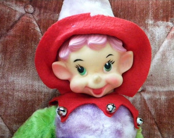 "Large Vintage Christmas Elf Rubber Face 23"" Tall Stuffed Pixie"