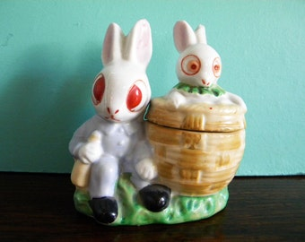 Vintage Big Eyed Bunnies Trinket Jar Made in Japan Ceramic Easter Bunny Rabbits