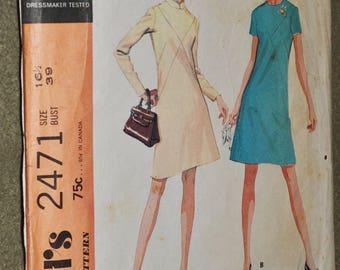 Vintage 70s Sewing Pattern McCalls 2471 Women's Long or Short Sleeve A-Line Dress Mandarin Collar