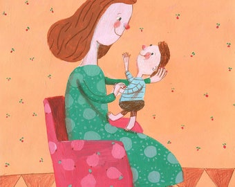 my baby    Original Illustration , home decor, wall decor, wall art, nursery