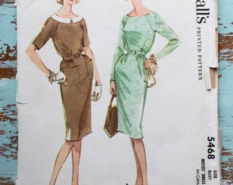 """1960s day dress with pockets pattern / McCall's 5468 / belted dress with Peter Pan collar / bust 32"""""""