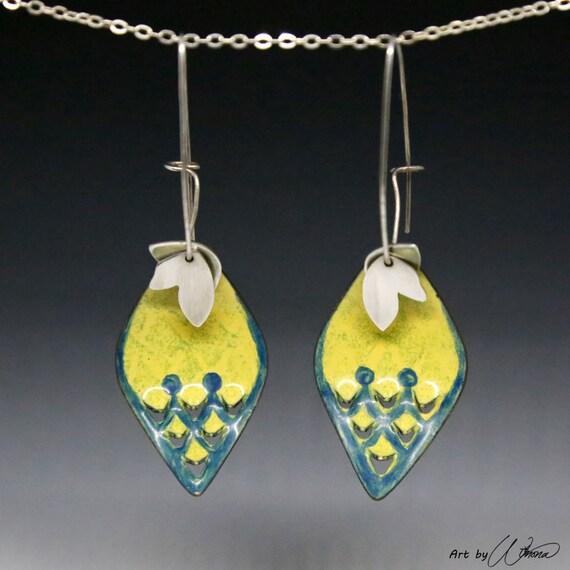 statement earrings, bold earrings, leaf earrings, flower petal earrings, big earrings, boho earrings, mermaid scale earrings, ooak jewelry
