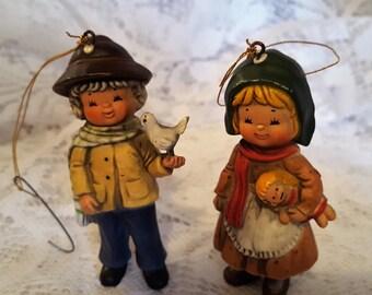 """Adorable Hummel 3"""" Boy and Girl Christmas Ornaments"""
