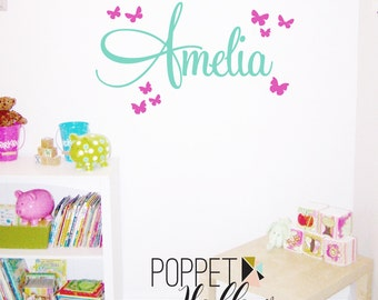 Custom Vinyl Name with Butterflies Wall Decal - Butterfly Wall Decor Sticker - Girls Custom Name - CM120