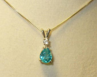Intense Blue Apatite White Zircon Accent Pendant Necklace in Sterling Silver - Genuine, Natural Gemstones