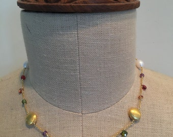 Freshwater Pearl Mixed Gemstone 24K Gold Filled Necklace