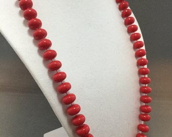 MOD Vintage Retro Cherry Red Round Plastic Beaded Necklace Mid Century Costume Jewelry Dress Up
