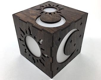 Sun and Moon Candle Box, LED Candle, Moon Lantern, Candle Votive, Sun Lantern, Wood Lantern, Tea Light, Light Box, Home Decor Sun Nightlight