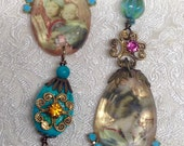 Lilygrace Asymmetric  Geisha and Children Gold and Turquoise Earrings with real Turquoise and Vintage Rhinestones
