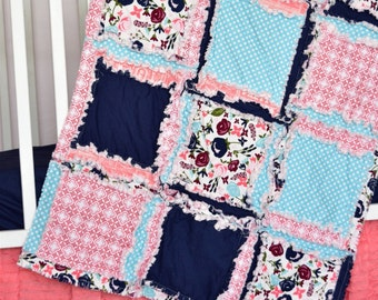 Coral Crib Bedding - Navy / Coral / Turquoise Quilt- Floral Crib Bedding- Boho Bedding Sets- Bumperless Crib Baby Rag Quilts / Sheet / Skirt