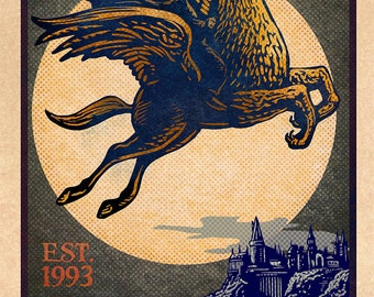 """Flying Hippogriff Brand Matchbox Art- 5"""" x 7"""" matted signed print"""