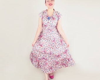 40s Pink Ribbon and Rose Print Cotton Peasant Style Long Dress M