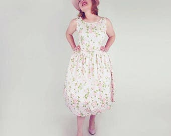 50s Pink Cotton Roses Print Full Skirt Sundress by L'Aiglon L