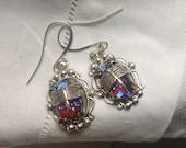 oO ELECTRA Oo dragon breath fire opal dragonfly silver earrings