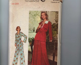 1970s Vintage Sewing Pattern Butterick 3974 Womens Top Skirt Pants Wrap Around Lounge Clothes Size 20 Bust 42 1970s 70s