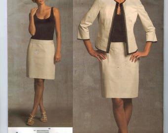 Misses Sewing Pattern Vogue V1028 1028 Donna Karan New York DKNY Drop Waist Dress Jacket Suit Size 6 8 10 12 Bust 30 31 32 33 34 UNCUT