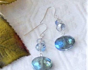 One of a Kind Handcrafted Sterling Silver Blue Faceted Crystal Dangle Earrings