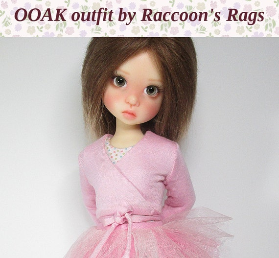 """OOAK  set for Kaye Wiggs dolls.  """"Ballet"""" #1 outfit.  Fits mei Mei (43cm) body.  Tights, leotard, wrap cardigan, and tutu."""