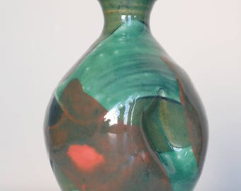indented celadon vase