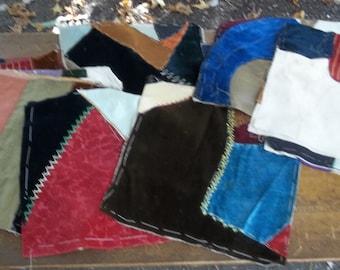 16 Antique Quilt Squares Crazy Quilt Squares Vintage Quilt Pieces Rustic Primitives Farmhouse Sewing Supplies Primative Bedding