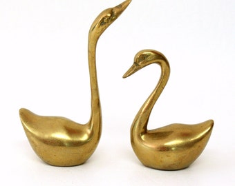 Pair of Small Brass Swan Figurines