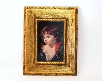 """Reproduction of Jean-Baptiste Greuze's Painting Titled """"Enfant Blonde"""" in Antiqued Gold Plaster Frame"""