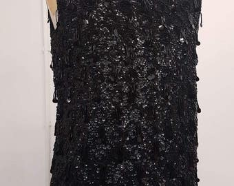 Sequin Swagger 1960s Black Beaded Sleeveless Top