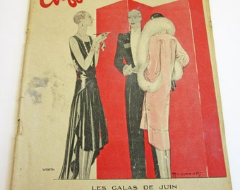 RARE Vintage French Magazine Chiffons July 1928 1920's Fashion & Couture Illustrations