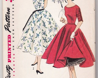 Vintage Sewing Pattern Simplicity 4244 Party Dress 1950's 32 Bust - With FREE Pattern Grading E-Book Included