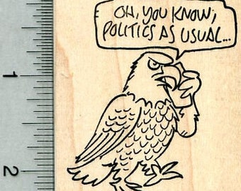 Election Year Eagle Rubber Stamp, Politics as Usual J32023 Wood Mounted